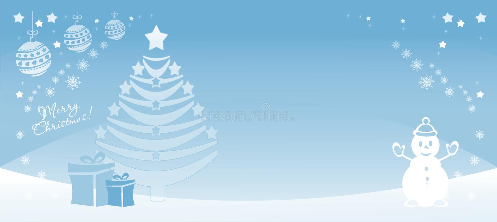 Christmas illustration light blue. Vector. Backgdrop Merry Xmas with snowman and new year tree, paper cut style, banner, colorful, vector illustration