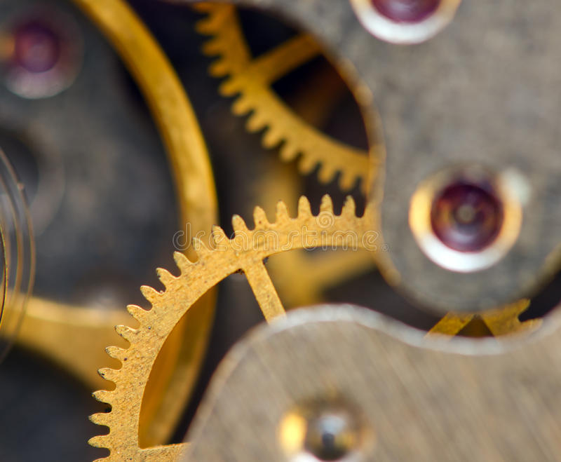 Background with metal cogwheels a clockwork. Conceptual photo. For your successful business design. Macro royalty free stock image