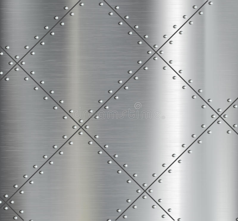 Background of the metal plates with riveted. stock illustration