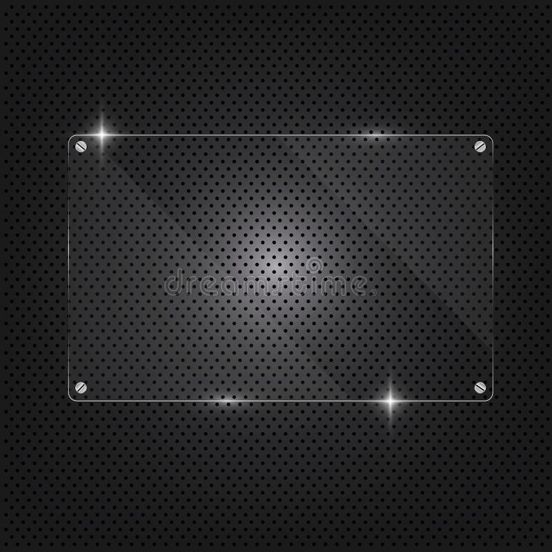 Background Metal texture plate with screws and glass framework for internet sites. Web user interfaces and applications stock illustration