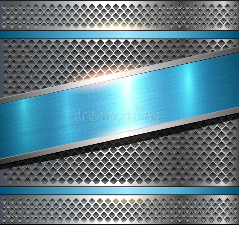 Background Metallic Silver Blue Stock Vector - Illustration of perforated, grid: 91500295
