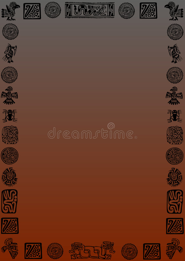 Background mexican. Grey-red gradient background with black mexican signs and symbols around. Available as Illustrator-file royalty free illustration
