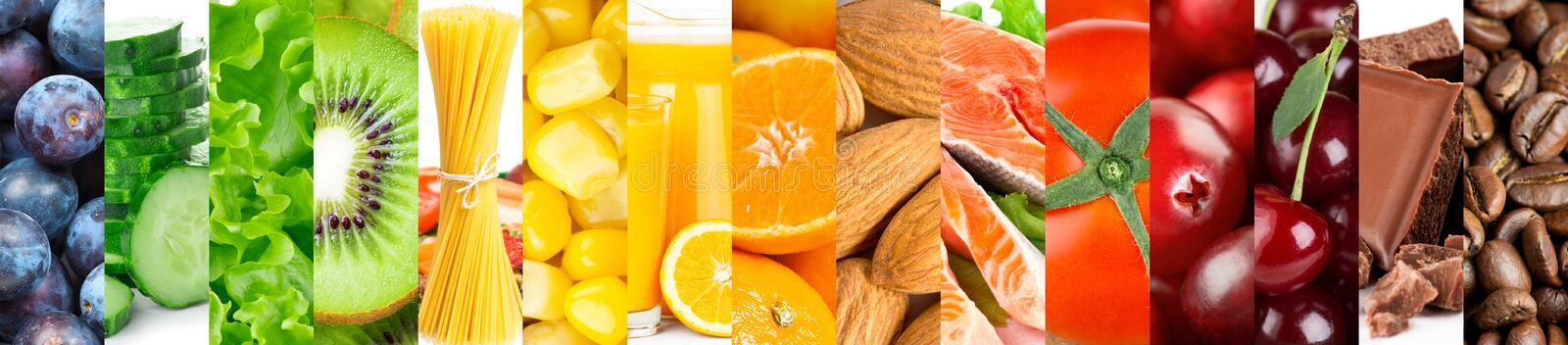 Background of mixed fresh color ripe food.  stock image