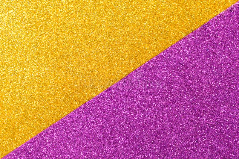 Background mixed glitter texture gold and purple, abstract background isolated stock photography