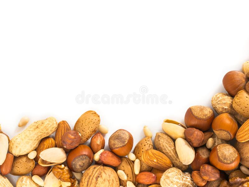 Background of mixed nuts with copy space royalty free stock photos