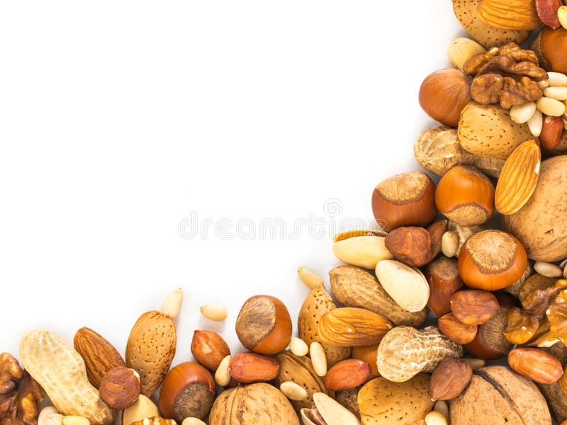 Background of mixed nuts with copy space royalty free stock photography
