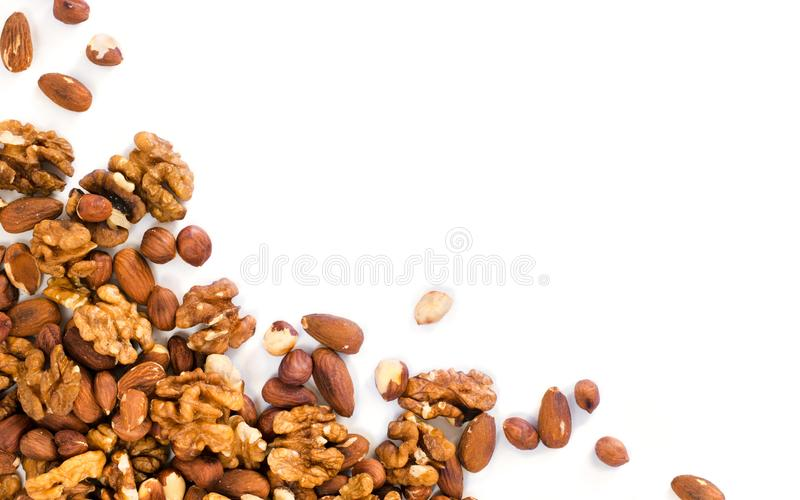 Background of mixed nuts with copy space stock photography