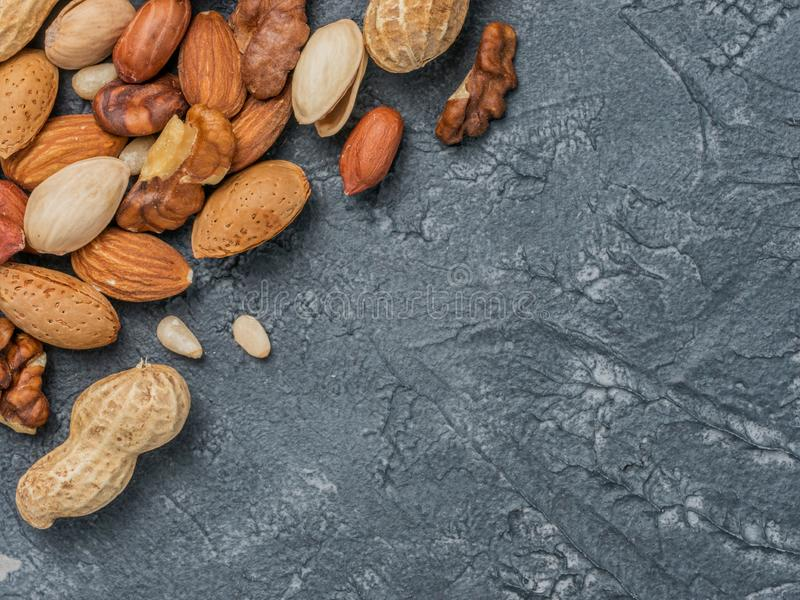 Background of mixed nuts stock photo