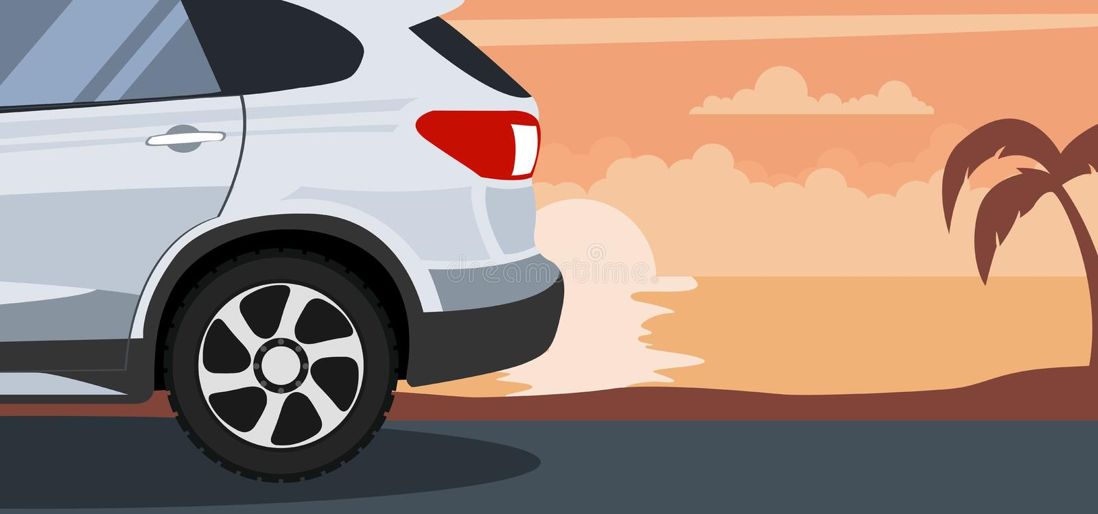 Background of modern van at a sunset on the beach royalty free illustration