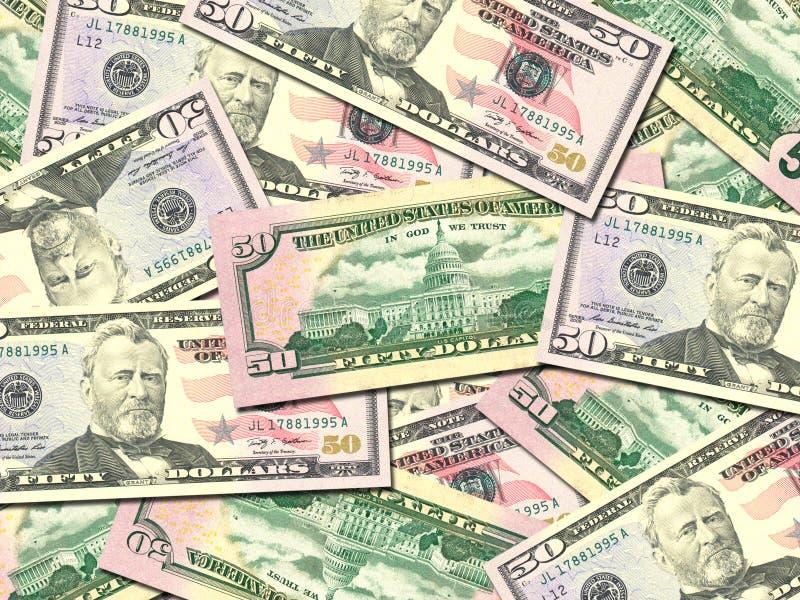 Background of money pile 50 USA dollars stock photo