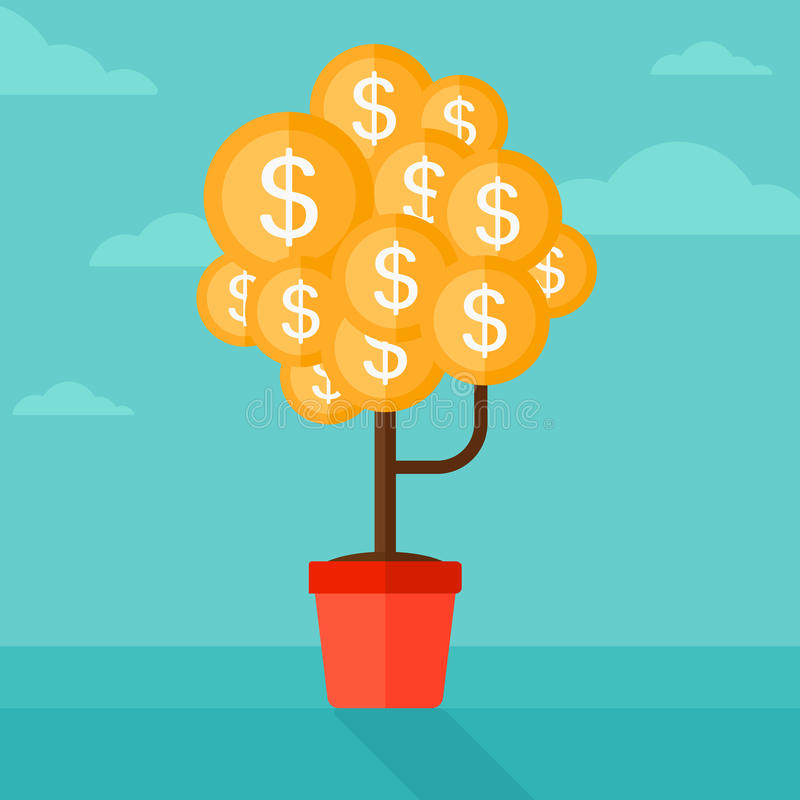 Background of money tree with dollar coins. vector illustration