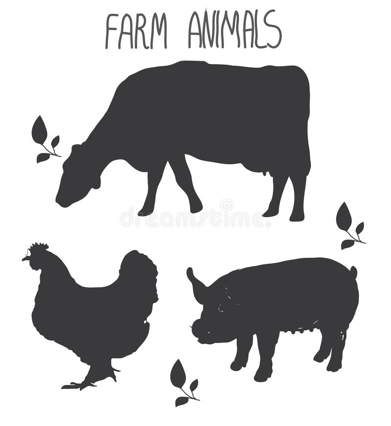 Background with monochromatic pattern farm animals cow and pig poultry chicken vector illustration