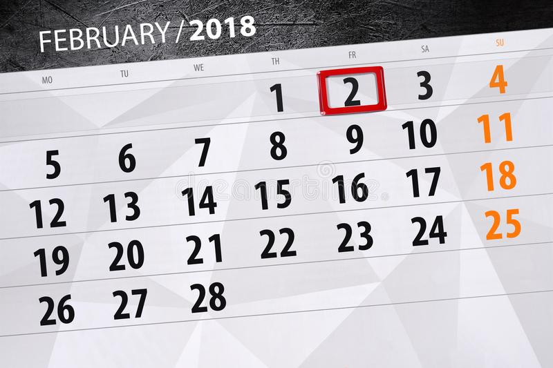 Background Daily Monthly Business Calendar Scheduler 2018 February 2. Background Daily Monthly Business Calendar Scheduler 2018 February vector illustration