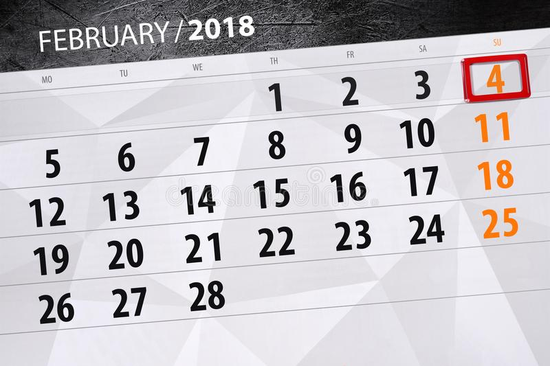 Background Daily Monthly Business Calendar Scheduler 2018 February 4. Background Daily Monthly Business Calendar Scheduler 2018 February royalty free illustration