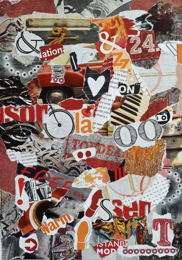 Background Mood board collage made of teared magazines in red,orange and black colors. With signs, heart shape, footsteps stock images