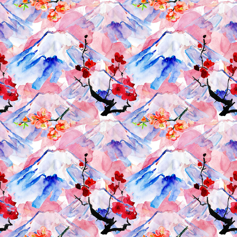 Background with mountain Fujiyama and flowers vector illustration