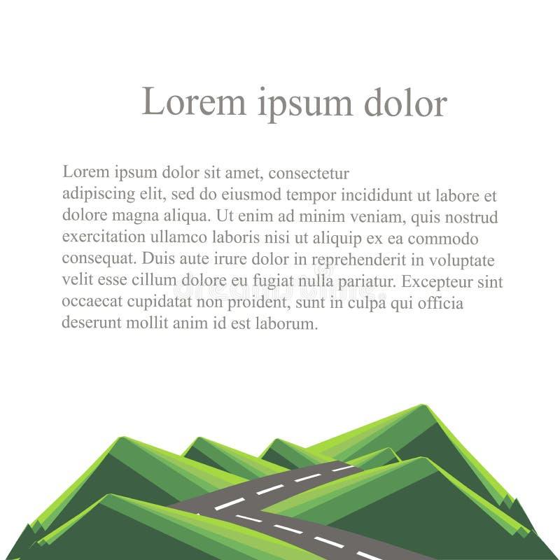 Background with mountain landscape below on white. Green hills, grey road, lorem ipsum. Modern flat design. Design element, vector stock illustration