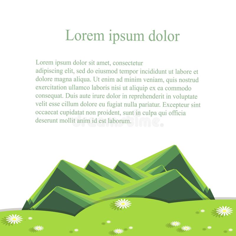 Background with mountain landscape below on white. Green hills, valley with white daisies lorem ipsum vector illustration