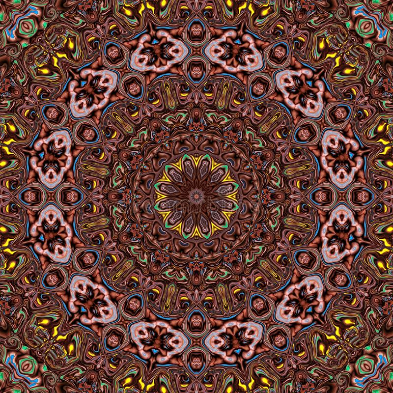 Background multicolor abstract kaleidoscope colorful. floral symmetry stock illustration