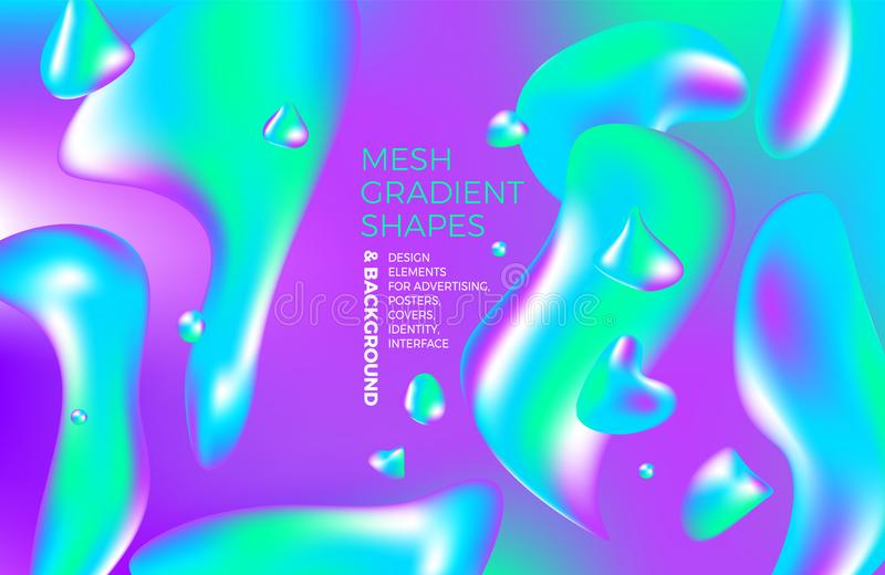 Background multicolored abstract vector holographic gradient 3D background with figures and objects for web, packaging, poster, bi vector illustration