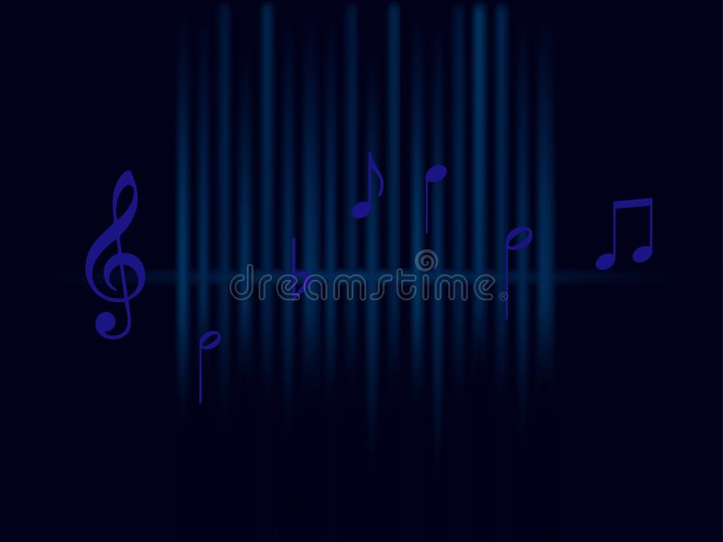 Background music blue sound waves and notes isolated on dark background vector illustration