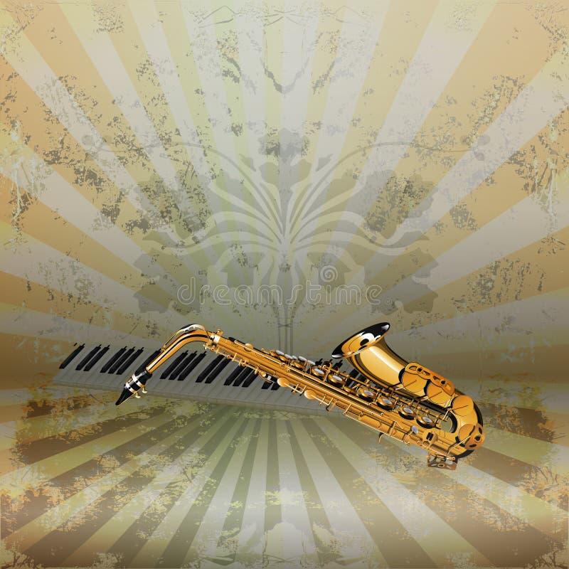 Background music jazz saxophone and piano keys stock illustration