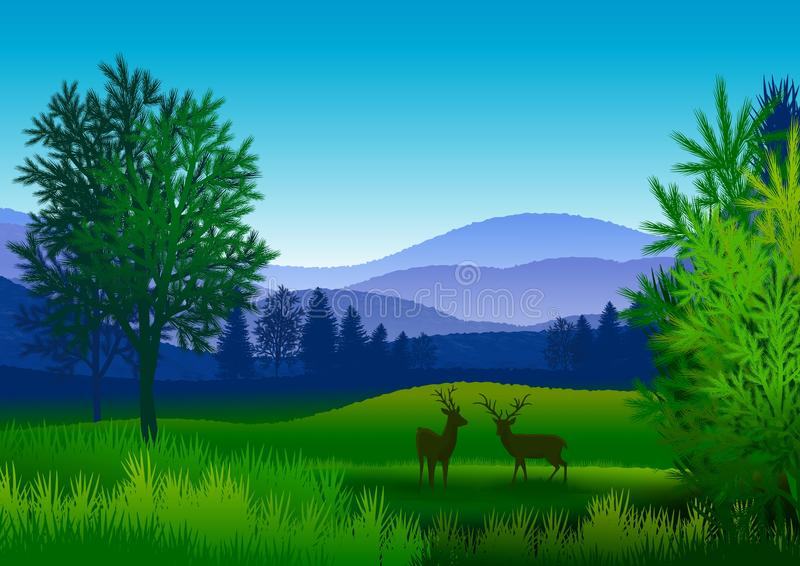 Background with natural landscape, with mountains, trees and two deer. royalty free illustration