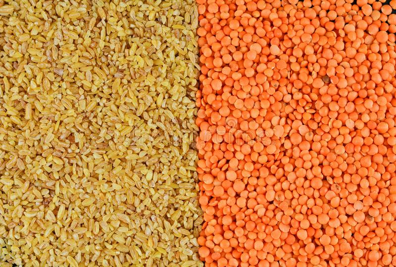 Background natural organic cereals: lentils and bulgur as a set for a healthy food stock images