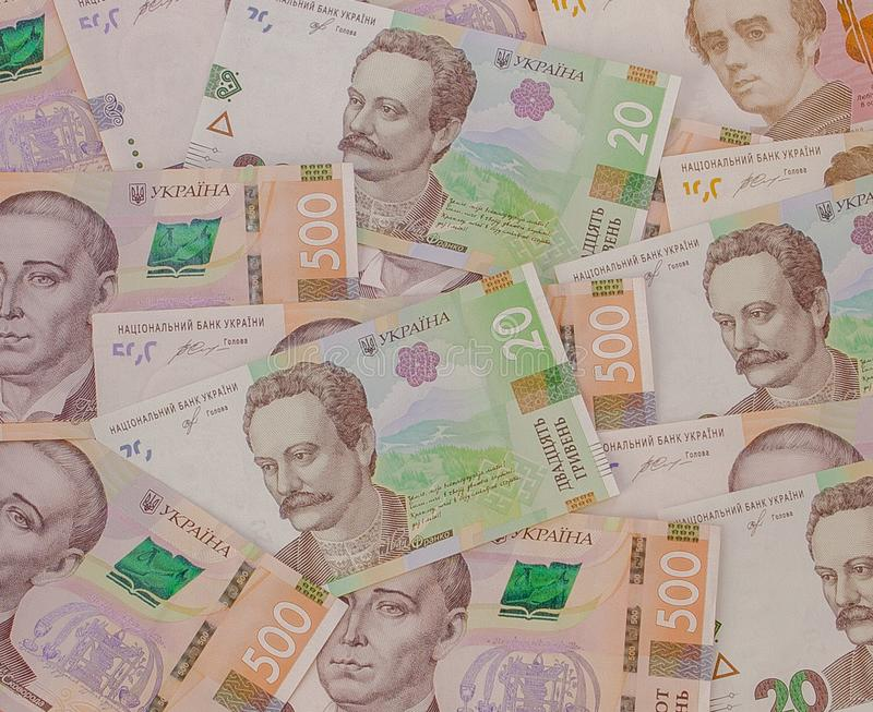 Background with new Banknotes Ukrainian Hryvnia. Inflation, business. econimics and finance theme stock photography