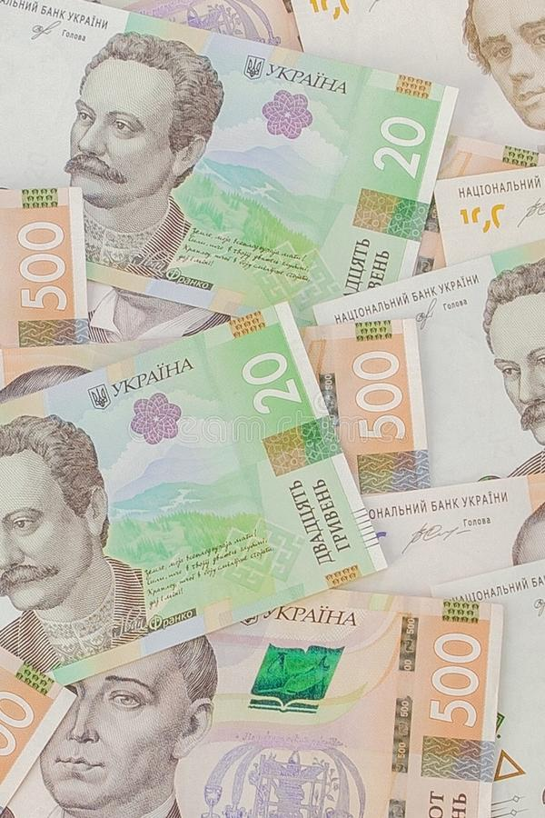 Background with new Banknotes Ukrainian Hryvnia. Inflation, business. econimics and finance theme stock images