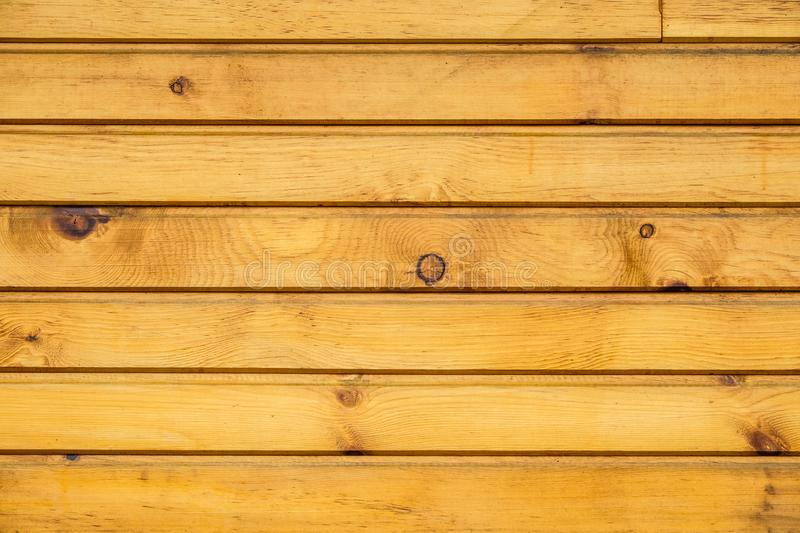 Background from light new varnished wooden planks. Cedar wood species. Horizontal layout royalty free stock images