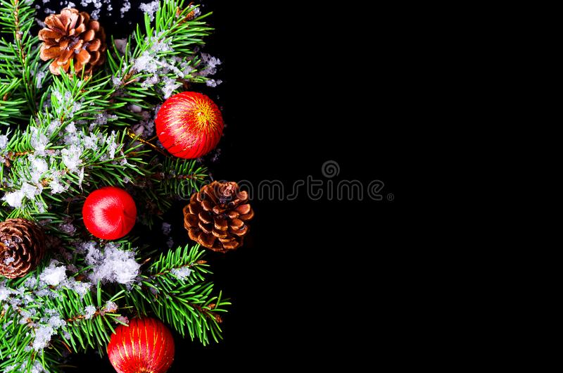 Background for the New Year or the day of St. Nicholas. Christmas background top view with copy space royalty free stock images