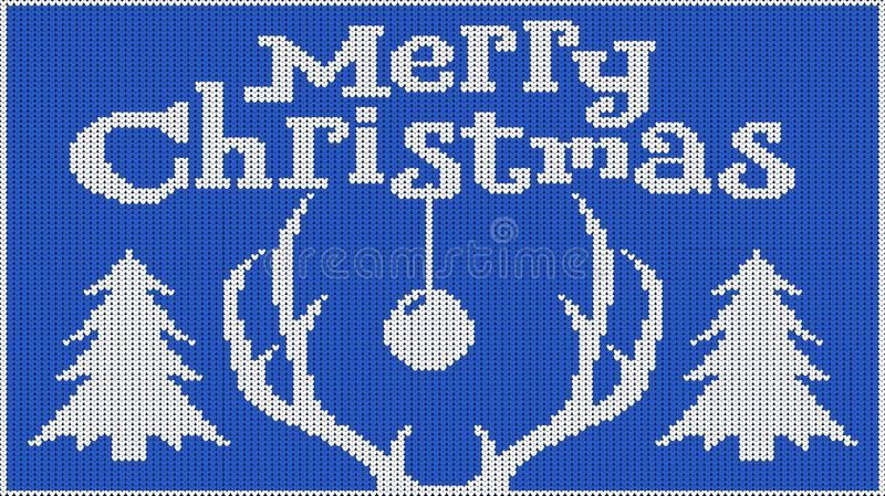 Background for the New Year mood. Merry Christmas. Knitted picture. Pullover. Horns of a deer and Christmas tree. Creates heat. Vector image royalty free illustration