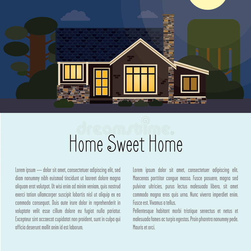 Background with night landscape with the house. At the top of the house is a lawn and trees. At the bottom of space for text and title to it stock illustration