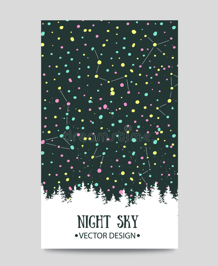 Background with night sky. stars and forest. royalty free illustration