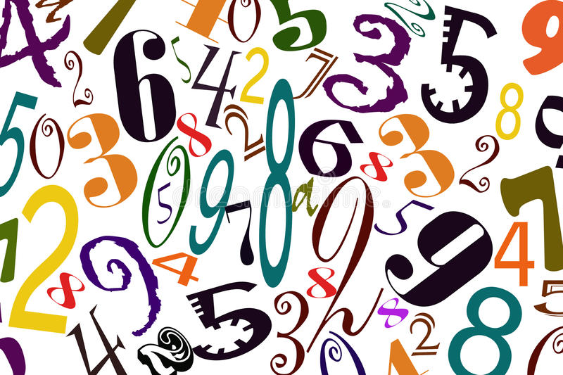 The background of numbers of different types of fonts.  royalty free illustration