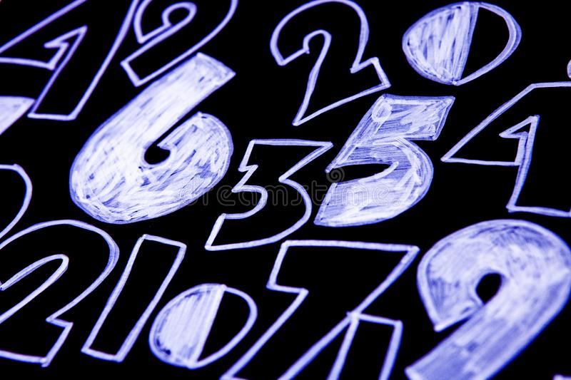 Background of numbers. from zero to nine. Numbers texture. Currency symbols. Numerology. Mathematical equations and formulas stock photo
