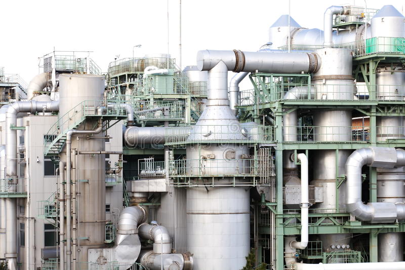 Oil Refinery factory. Background with Oil Refinery factory and sky royalty free stock photography