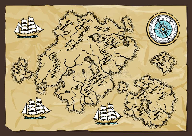 Download Background With Old Nautical Map. Stock Vector - Illustration of cartography, geography: 118690785