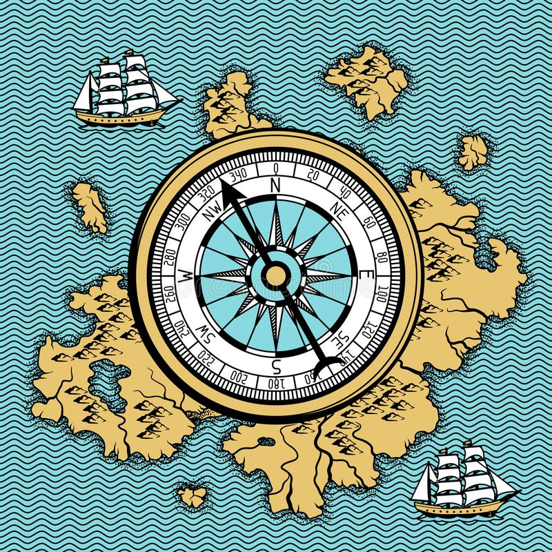 Download Background With Old Nautical Map. Stock Vector - Illustration of north, ancient: 118690896