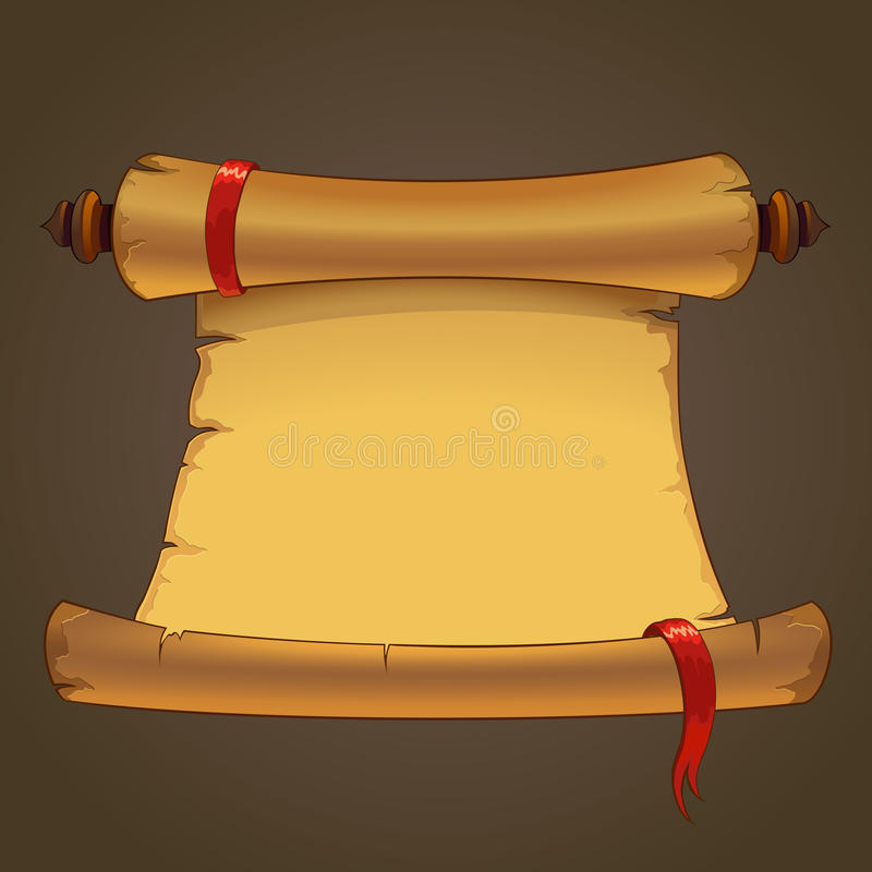 Background of an old paper scroll. Background. Old paper scroll. Blank parchment with red ribbon vector illustration