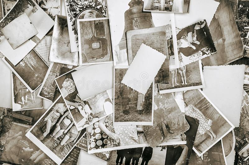 Background of old retro photos from a family album royalty free stock photo