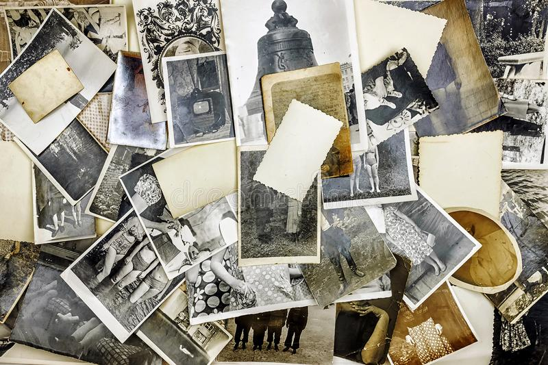 Background of old retro photos from a family album.  royalty free stock photos