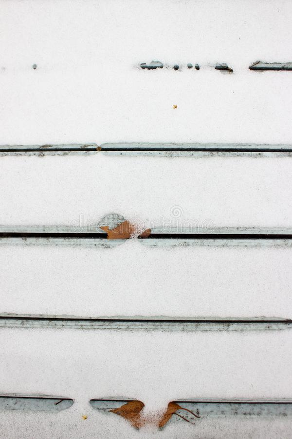 Background of old rough boards covered with snow royalty free stock photos