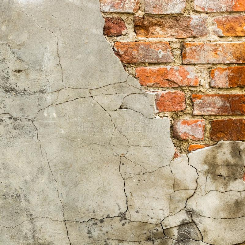 Background of old vintage brick wall with concrete,Weathered texture of racked concrete vintage brick wall background stock images