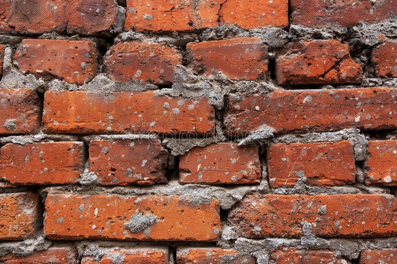 Background Of Old Vintage Dirty Brick Wall With Peeling Plaster, Texture stock photos