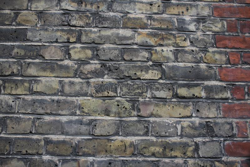 Background of old vintage mixed red and white brick wall stock image