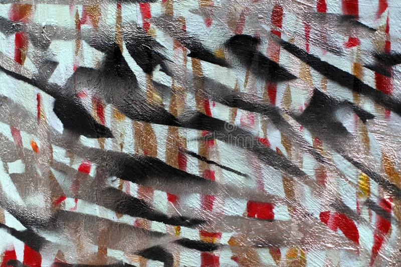 Background of old wall with unpainted colored lines. Stencil with masking tape. Red black and blue layers stock images