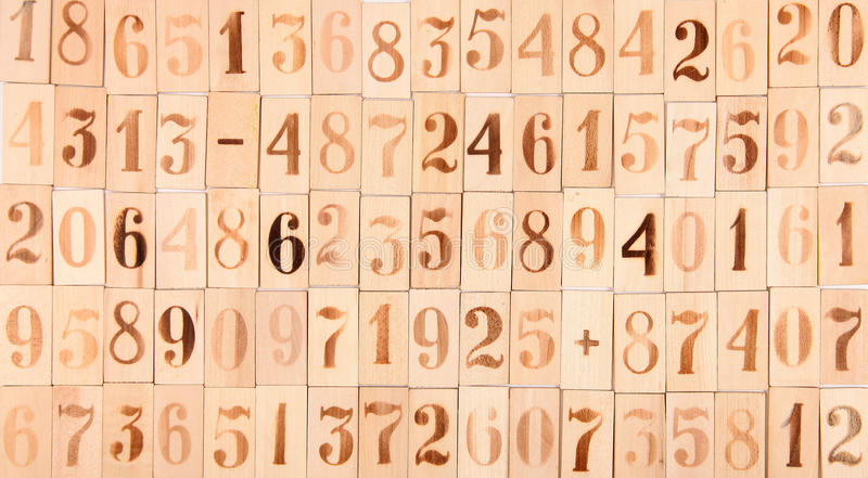 Background of the old wood numbers stock photos
