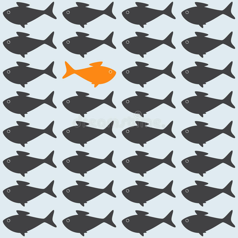 Background with opposite goldfish. Goldfish among grey crowd moving against stream. Concept illustration of uniqueness stock illustration